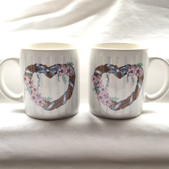 K. I. C. Coffee Tea Mug Wreath Heart Flowers